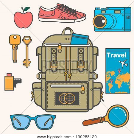 Overhead view of Traveler accessories, Essential vacation items, Travel concept. Flat vector illustration