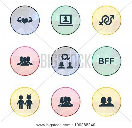 Vector Illustration Set Of Simple Mates Icons. Elements Bodybuilding, Bff, Profile And Other Synonyms Community, Network And Arms.