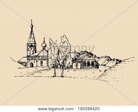 Vector rural landscape illustration. Hand drawn russian countryside or farmland. Sketch of village with church, birches and peasants houses.