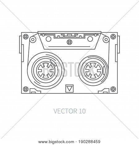 Line flat vector icon audiocassette. Hipster style. Audio. Music. Sound. Retro. Magnetic tape. Analogue multimedia technology. Entertainment Illustration texture for design wallpaper