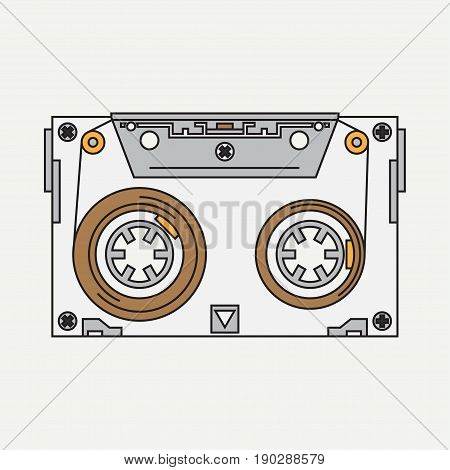 Line color vector icon audiocassette. Hipster style. Audio. Music. Sound. Retro. Magnetic tape. Analogue multimedia technology. Entertainment. Illustration texture for design, wallpaper.