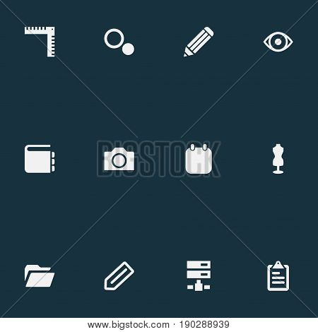 Vector Illustration Set Of Simple Design Icons. Elements Blueprint, Date, List And Other Synonyms Ruler, Tailor And Choice.