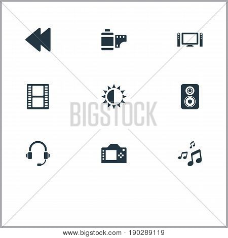 Vector Illustration Set Of Simple Media Icons. Elements Brightness, Loudspeaker, Negative Roll And Other Synonyms Note, Rearward And Microphone.