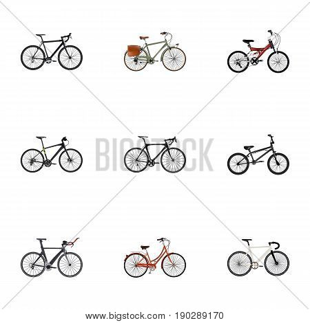Realistic Working, Cyclocross Drive, Hybrid Velocipede And Other Vector Elements. Set Of Bike Realistic Symbols Also Includes Bicycle, Adolescent, Teenager Objects.