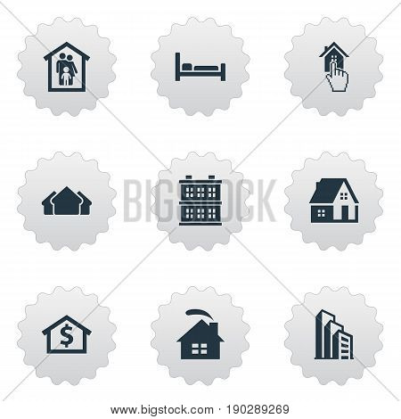 Vector Illustration Set Of Simple Estate Icons. Elements Bed, Property, Residence And Other Synonyms House, Home And Construction.