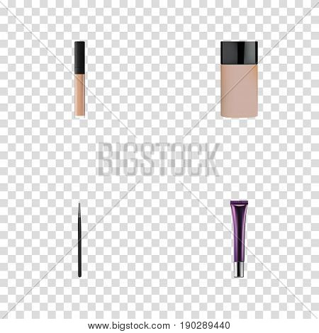 Realistic Concealer, Cover, Cosmetic Stick And Other Vector Elements. Set Of Maquillage Realistic Symbols Also Includes Cream, Cover, Cosmetics Objects.