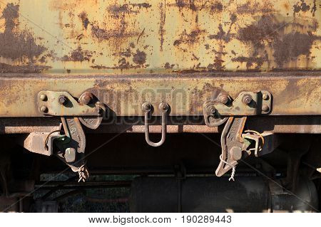 Rusty wall of the freight railway car
