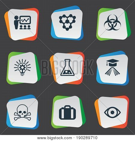 Vector Illustration Set Of Simple Study Icons. Elements Biological Weapon, Briefcase, Molecule And Other Synonyms Supervision, Handbag And Weapon.
