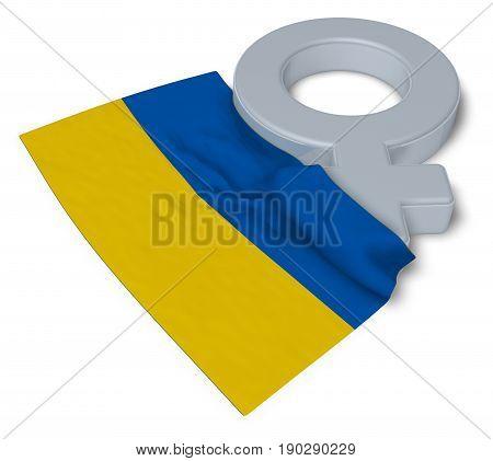 symbol for feminine and flag of the ukraine - 3d rendering