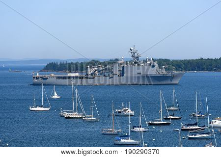 ROCKLAND, ME, USA - AUG. 1, 2015: USS Tortuga LSD-46 is a Whidbey Island-class dock landing ship of the United States Navy in Rockland Harbor, Rockland, Maine, USA.