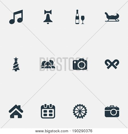 Vector Illustration Set Of Simple Celebration Icons. Elements Funfair, Relatives, Musical Note And Other Synonyms Carnival, Music And Date.