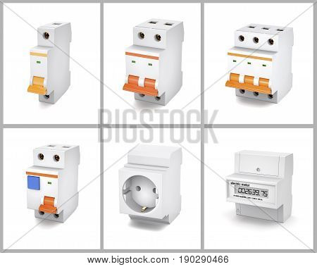 Circuit breakers socket and electric meter are on a white background.