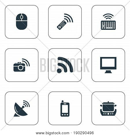 Vector Illustration Set Of Simple Smart Icons. Elements Antenna, Keypad, Tv Adjusting And Other Synonyms Mouse, Antenna And Keyboard.