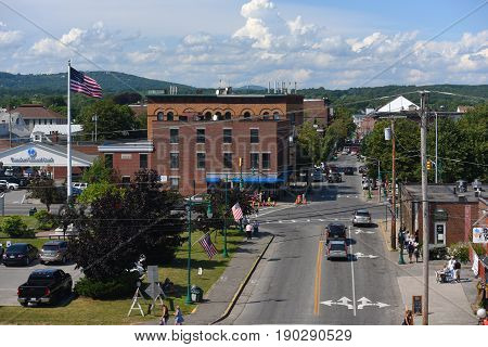 ROCKLAND, ME, USA - AUG. 1, 2015: Aerial view of Rockland historic downtown on Main Street, Rockland, Maine, USA.