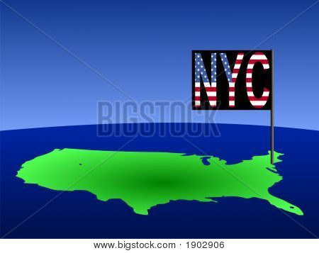 Map Of Usa With New York City Flag