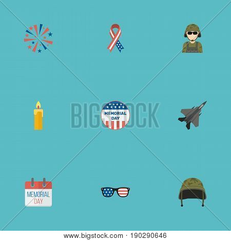 Flat Icons Military Man, Soldier Helmet, Fire Wax And Other Vector Elements. Set Of Day Flat Icons Symbols Also Includes Awareness, Calendar, Military Objects.
