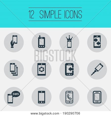 Vector Illustration Set Of Simple Telephone Icons. Elements Business Accessory, Outgoing Calls, Communicating And Other Synonyms Smartphone, Upgrade And Information.