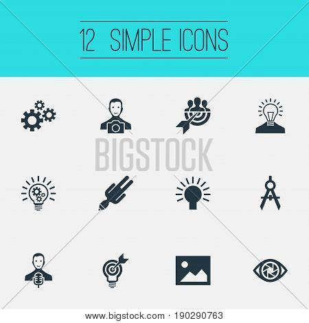 Vector Illustration Set Of Simple Visual Art Icons. Elements Arrow, Image, Creative And Other Synonyms Digital, Gears And Objective.