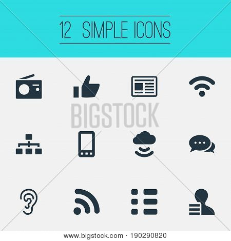 Vector Illustration Set Of Simple Transmission Icons. Elements Questionnaire, Remote Storage, Wireless Access And Other Synonyms Press, Chat And Smartphone.