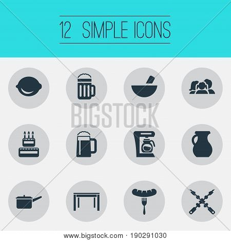 Vector Illustration Set Of Simple Kitchen Icons. Elements Bbq, Casserole, Lager And Other Synonyms Glass, Beer And Birthday.