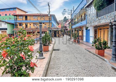 Guatape, Colombia- March 6, 2017:Colorful Colonial houses in Guatape Colombia