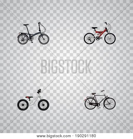Realistic Equilibrium, Folding Sport-Cycle, Adolescent And Other Vector Elements. Set Of Bike Realistic Symbols Also Includes Velocipede, Equilibrium, Bicycle Objects.