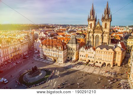 PRAGUE, CZECH REPUBLIC - MAY 2017: Buildings on the Old Town square Staromestska Namesti with Tyn Church in Prague during sunset, Czech Republic.