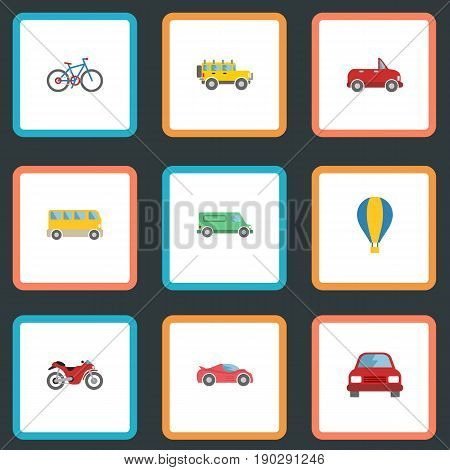 Flat Icons Airship, Transport, Luxury Auto And Other Vector Elements. Set Of Transport Flat Icons Symbols Also Includes Bike, Transport, Carriage Objects.