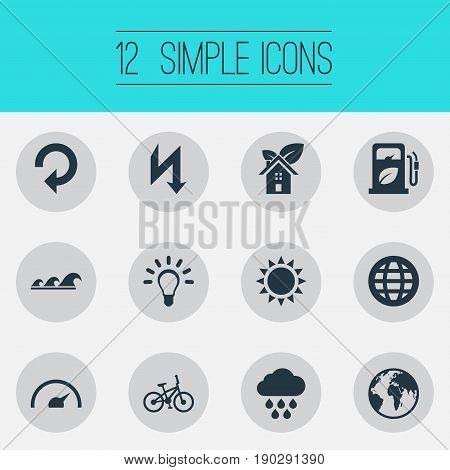 Vector Illustration Set Of Simple Green Icons. Elements Bulb, Planet, Velocipede And Other Synonyms Globe, Petrol And Sun.