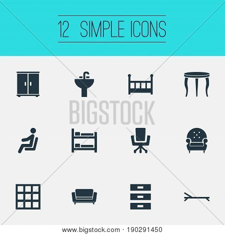 Vector Illustration Set Of Simple Furniture Icons. Elements Bunk Bed, Tap, Cabinet And Other Synonyms Bunk, Box And Closet.