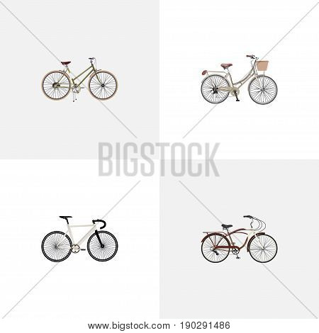 Realistic Journey Bike, For Girl, Road Velocity And Other Vector Elements. Set Of Bicycle Realistic Symbols Also Includes Bicycle, Vintage, Girl Objects.