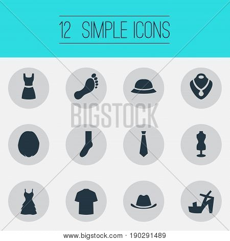 Vector Illustration Set Of Simple Clothes Icons. Elements Head Accessory, Man Clothing, Tie And Other Synonyms Footprint, Rich And Half-Hose.