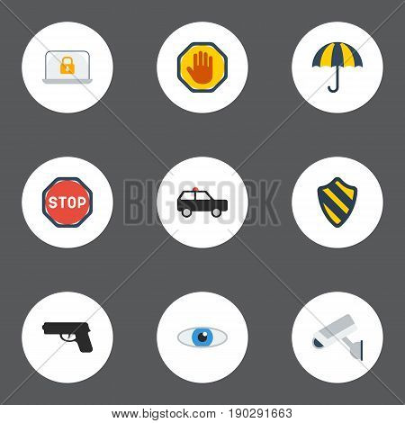 Flat Icons Camera, Vision, Road Sign And Other Vector Elements. Set Of Security Flat Icons Symbols Also Includes Weapon, Shot, Road Objects.