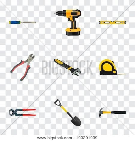 Realistic Plumb Ruler, Wrench, Tongs And Other Vector Elements. Set Of Instruments Realistic Symbols Also Includes Instrument, Construction, Tool Objects.