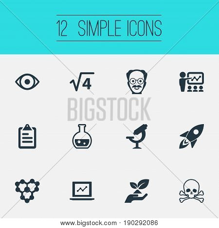 Vector Illustration Set Of Simple Study Icons. Elements Administration, Toxic Substance, Biology And Other Synonyms Rocket, Information And Square.