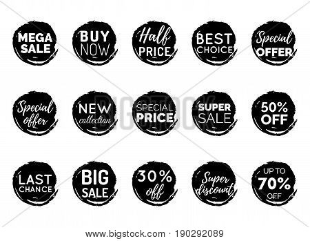 Vector set of comic speech bubbles with sale phrases. Discount card collection, Buy Now, Special Offer, Best Choice etc. Illustrations of labels and logotypes.