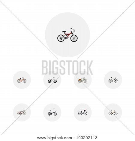 Realistic Adolescent, Timbered, Folding Sport-Cycle And Other Vector Elements. Set Of  Realistic Symbols Also Includes Postman, Triathlon, Adolescent Objects.