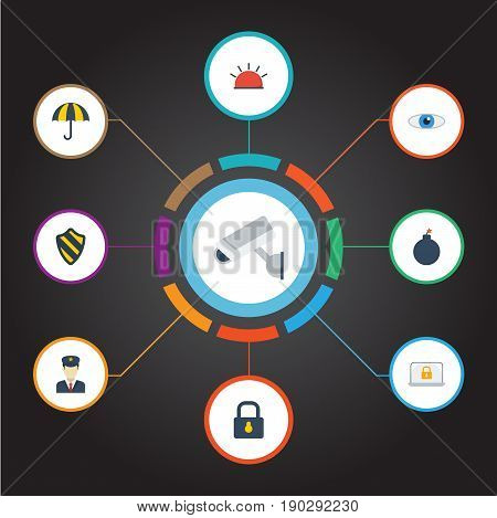 Flat Icons Explosive, Key, Shield And Other Vector Elements. Set Of Security Flat Icons Symbols Also Includes Look, Safe, Supervision Objects.