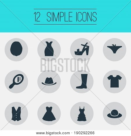 Vector Illustration Set Of Simple Clothes Icons. Elements Head Accessory, Attire, Waiter Uniform And Other Synonyms Hairdressing, Galoshes And Wellies.