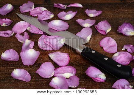 closeup butcher knife with pink rose petals