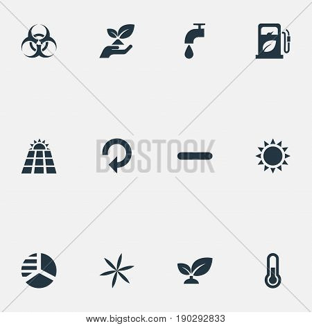 Vector Illustration Set Of Simple Power Icons. Elements Biology Peril, Floret, Diagram And Other Synonyms Hazard, Weed And Thermometer.