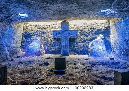 Bogota, Colombia- March 9, 2017: Cross and Thombstone in Zipaquira Salt Cathedral Colombia