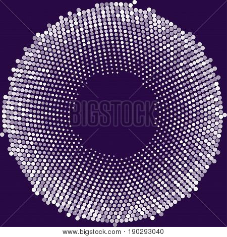 Circle with dots for Design Project. Halftone effect vector illustration. Colorful dots on white background. Purple background. Round frame design template.