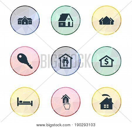 Vector Illustration Set Of Simple Property Icons. Elements Bed, Residential, Choose And Other Synonyms Residential, Hotel And Domicile.