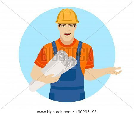 Builder holding the project plans and gesturing. Portrait of builder character in a flat style. Vector illustration.