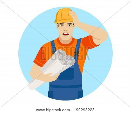 Builder holding the project plans and grabbed his head. Portrait of builder character in a flat style. Vector illustration.