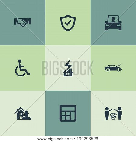 Vector Illustration Set Of Simple Fuse Icons. Elements Accounting, Weather Safety, Property Break-In And Other Synonyms Car, Wheelchair And Lightning.