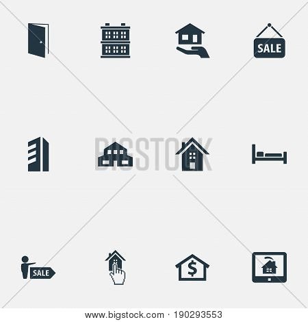 Vector Illustration Set Of Simple Estate Icons. Elements Advertising, Agent, Home And Other Synonyms Residental, Architecture And Monitor.