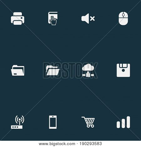 Vector Illustration Set Of Simple Computer Icons. Elements Select, Web Trading, Dossier And Other Synonyms Mute, Store And Router.