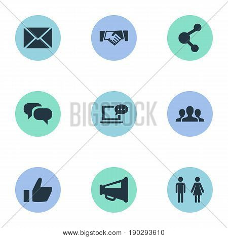 Vector Illustration Set Of Simple Social Media Icons. Elements Agreement, New Mail, Publish And Other Synonyms Publish, Gender And Network.
